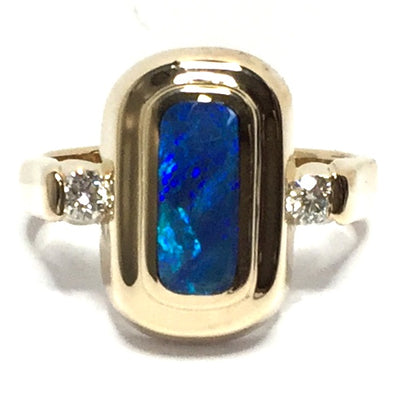FINE QUALITY OPAL OVAL INLAID AND .16ctw DIAMOND RING
