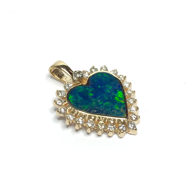 SUPERIOR QUALITY OPAL HEART INLAID PENDANT