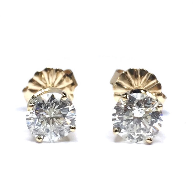 1.01CTW ROUND BRILLIANT CUT DIAMOND STUD EARRINGS