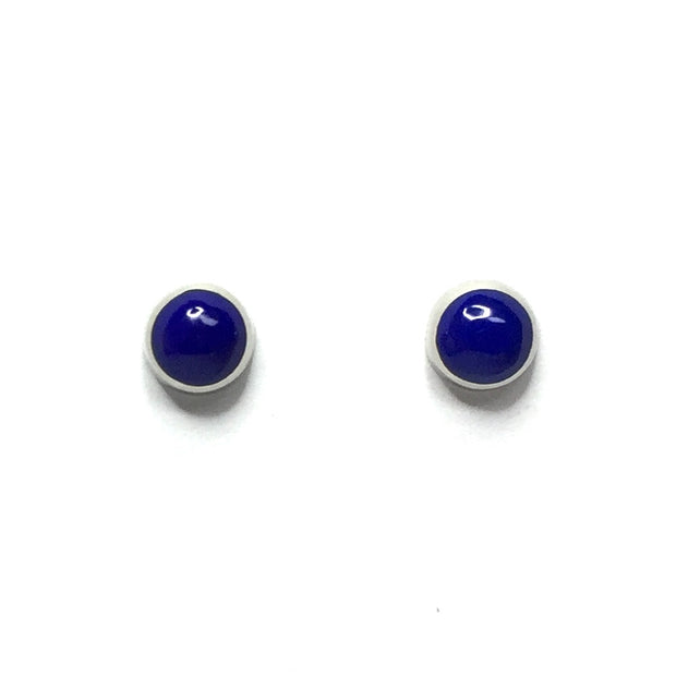 LAPIS 6mm ROUND INLAID EARRINGS
