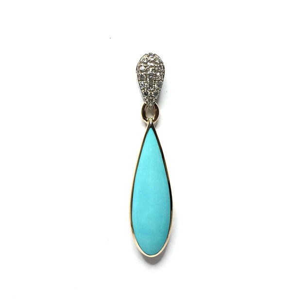 SLEEPING BEAUTY TURQUOISE TEAR DROP INLAID .11ctw DIAMOND PENDANT