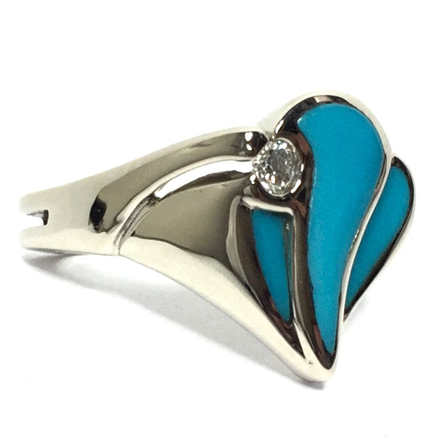 SLEEPING BEAUTY TURQUOISE 3 SECTION INLAID .11ctw DIAMOND LADIES RING