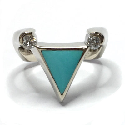 SLEEPING BEAUTY TURQUOISE TRIANGLE SHAPE INLAID .14ctw DIAMOND LADIES RING