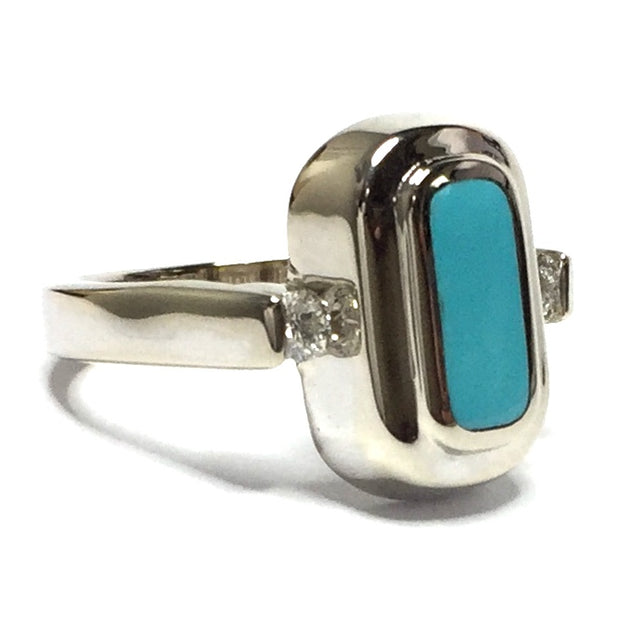 SLEEPING BEAUTY TURQUOISE OVAL INLAID .61ctw DIAMOND LADIES RING