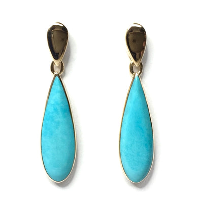 SLEEPING BEAUTY TURQUOISE TEAR DROP INLAID EARRINGS
