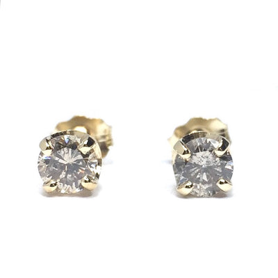 .63CTW ROUND BRILLIANT CUT DIAMOND STUD EARRINGS