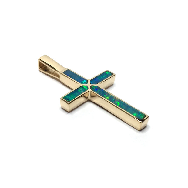 Opal Pendant 4 Section Inlaid Cross 14k Yellow Gold