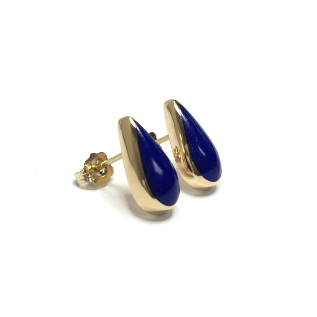 LAPIS TEAR DROP INLAID EARRINGS