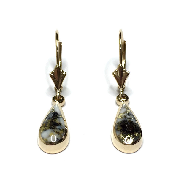 Gold Quartz Earrings All Natural Tear Drop Inlaid 14k Yellow Gold Lever Backs