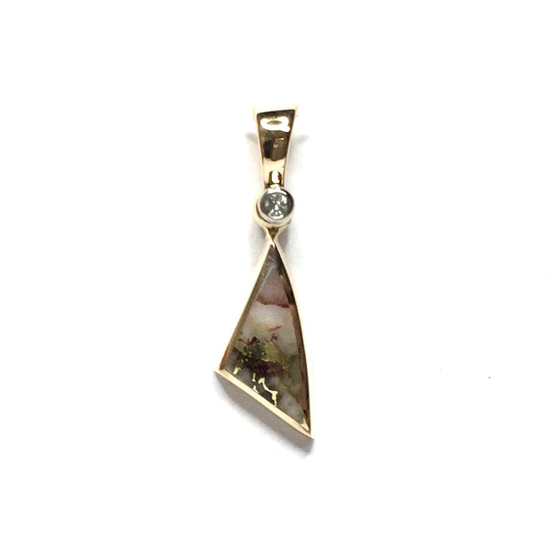 Gold quartz necklace sail inlaid design pendant made of 14k yellow gold with .02ct diamond