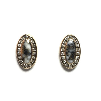 Gold Quartz earrings oval inlaid .25ctw round diamonds halo 14k yellow gold