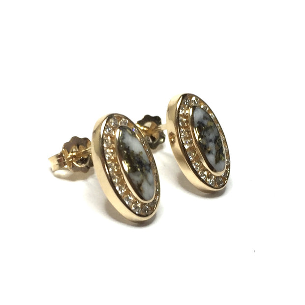Fine Quality Gold And Quartz Oval Inlaid .25Ctw Diamond Earrings