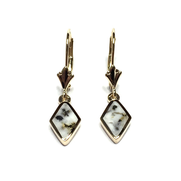 Gold Quartz Earrings Diamond Shape Inlaid Lever Backs 14k Yellow Gold