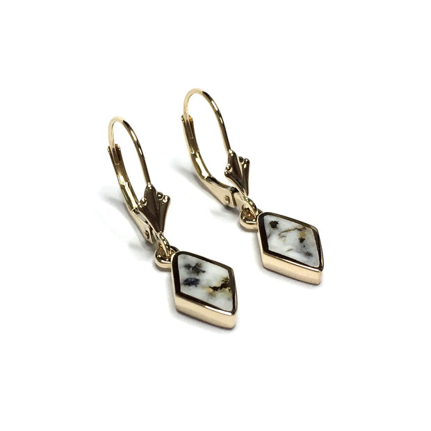 FINE QUALITY GOLD AND QUARTZ DIAMOND SHAPE INLAID LEVER BACK EARRINGS