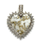 SUPERIOR QUALITY GOLD AND QUARTZ HEART INLAID AND 1.54ctw DIAMOND PENDANT