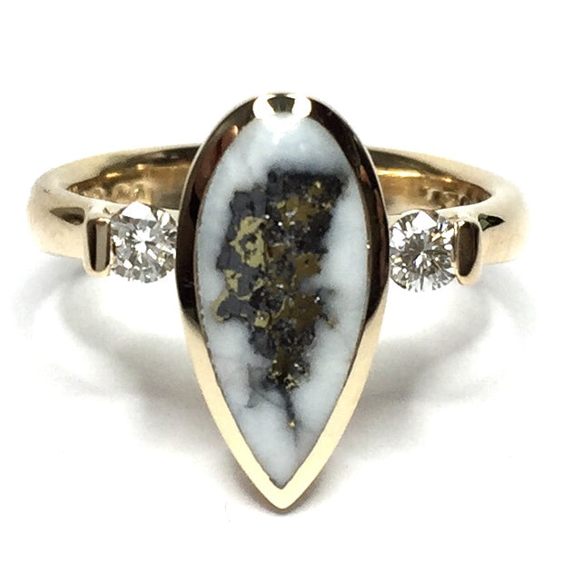 FINE QUALITY GOLD AND QUARTZ PEAR SHAPE INLAID .18ctw DIAMOND RING