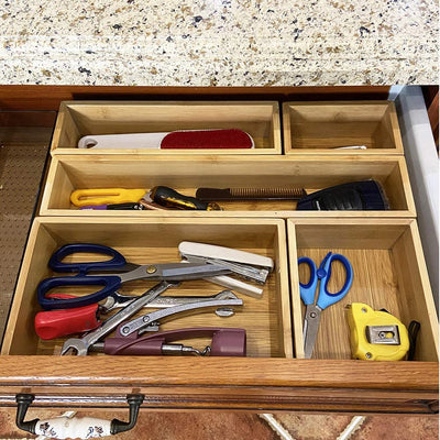Simhoo Bamboo Drawer  Organizer Assorted Size Storage box