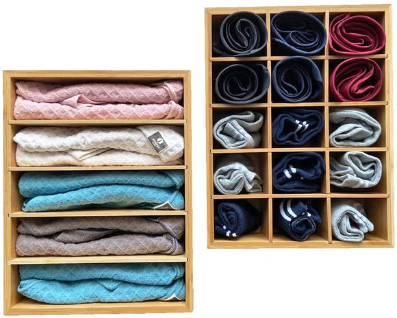 Simhoo Drawer Organizer Bamboo Trays Underwear socks finishing Ties(Set of 2)