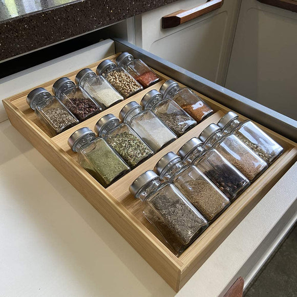 Simhoo Bamboo Spice rack In-Drawer Kitchen Cabinet Storage/Organizer 3-Tier Insert middle