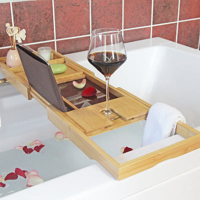 Bamboo bath tray with brown acylic base