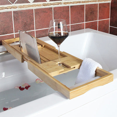 Bamboo Bathtub tray Bath Wine Cup holder