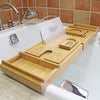 Bamboo bathtub tray with mobile holder board
