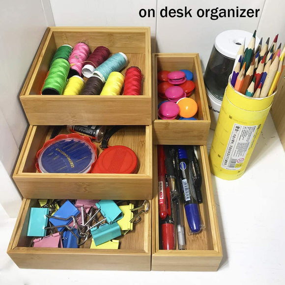 Simhoo Bamboo Cascade Free placement Desktop drawer storage and organization