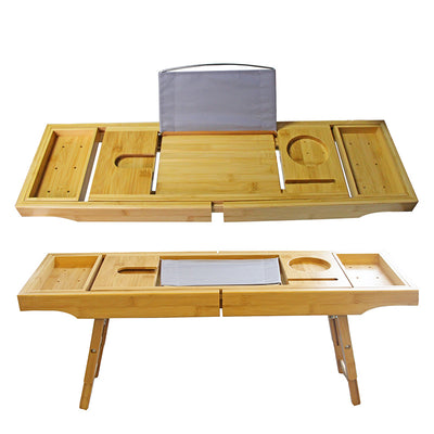 Bamboo bath tray with adustable foot