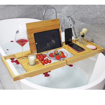 Large bamboo bath tray with Acylic base