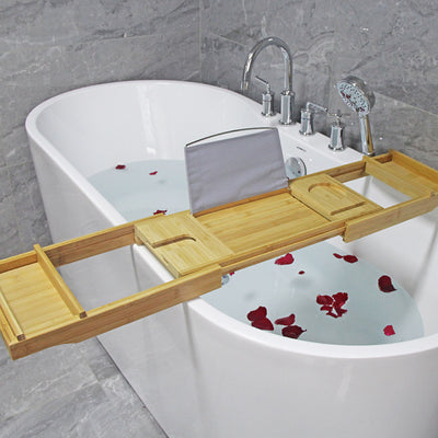 Bamboo bath tray with 2 side box holder removable
