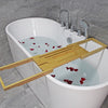 Bamboo bath tray with 2 slot mobile and ipad holder