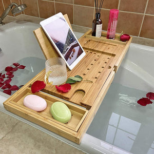 Simhoo Wide Bamboo Bath Caddy Tray Wooden Bathtub Adjustable Holder