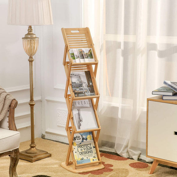 Bamboo Foldable Floor Magazine Rack, Wooden Pot up 4 Pockets Catalog Literature Stand Holder Racks for Livingroom Hotel Office Shop and Tradeshow Display