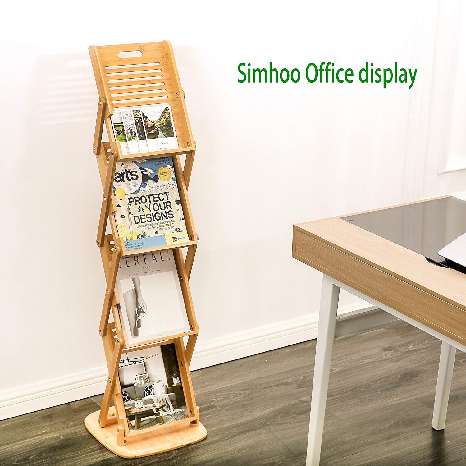 Bamboo Foldable Floor Magazine Brochure Rack,Wooden Pot up 4 Pockets Catalog Literature Stand Holder Racks for Livingroom Hotel Office Shop and Tradeshow Display