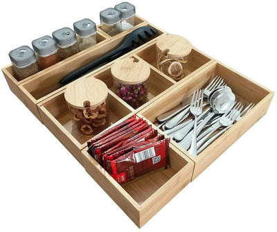 Bamboo Drawer  Organizer Assorted Size Storage box simhoo shopping