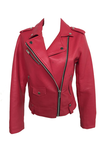 Mango Women's Red Biker Jacket