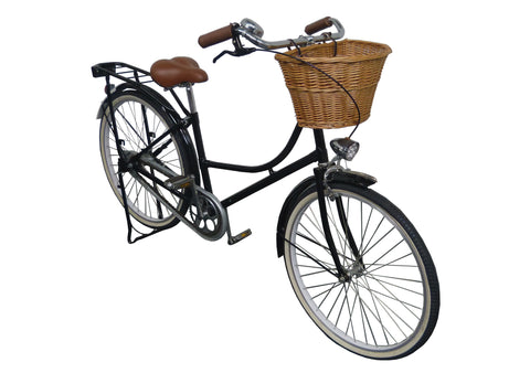 BLACK Cruiser Bike With Rattan Basket