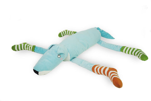 Blue Soft Dog With 4 Vertical Striped Socks