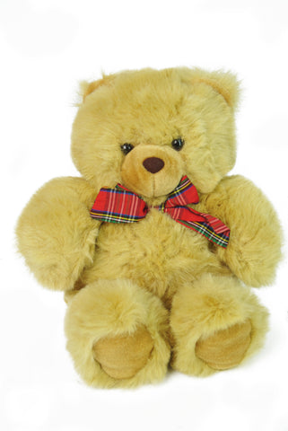 Beige Brown Teddy Bear with Red Plaid Ribbon
