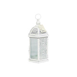 Candle Holder - White Iron Bird Cage With Glass Window