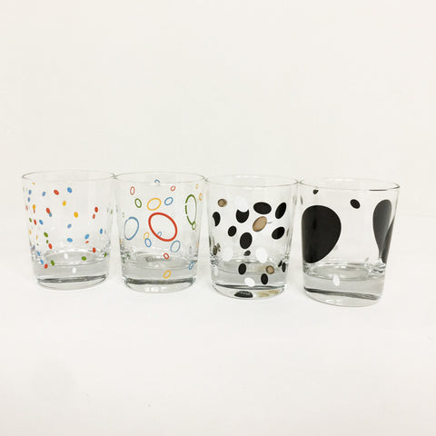 Set of Glass with Abstract Design - 4pcs