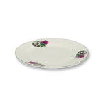 White Side Plate with Flower Design - 6 pcs
