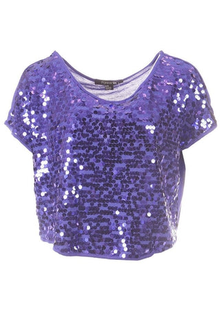 Forever 21 Short Sleeve Sequin Top