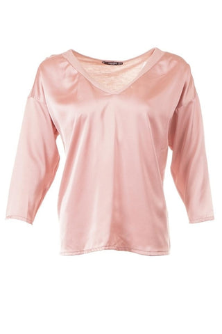 Mango V Neck Long Sleeve Top