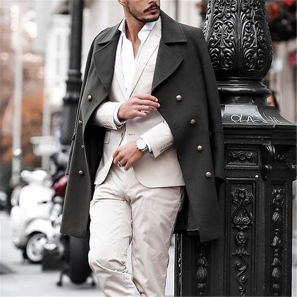 Men's Classic Solid Color Double-breasted Coat