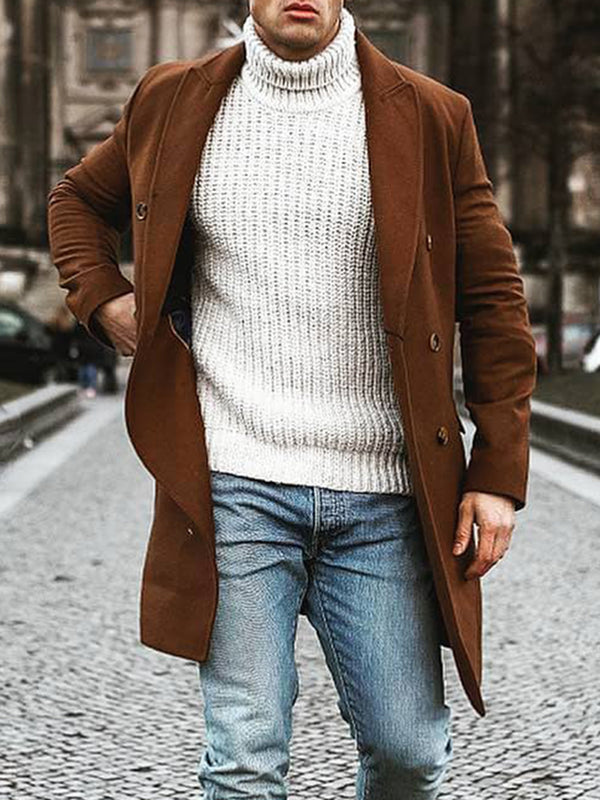 Men's fashion pure color double-breasted long-sleeved coat