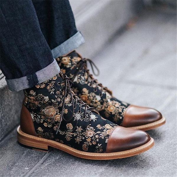 Men's Vintage Flower Stitched Low Heel Lace Up Boots