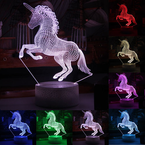 7-Color 3D LED Unicorn Night Light - Unicorn Roll