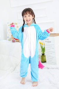 Blue Children One Piece Unicorn Pajamas - Unicorn Roll