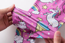 Load image into Gallery viewer, Pink Rainbow Unicorn High Waist Fitness Leggings - Unicorn Roll